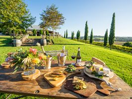 Food and wine available to enjoy on the scenic grounds of Cupitt's Winery, Ulladulla.