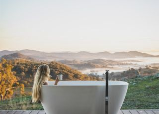 Enjoying the outdoor bath in the Sierra Escape - Mudgee
