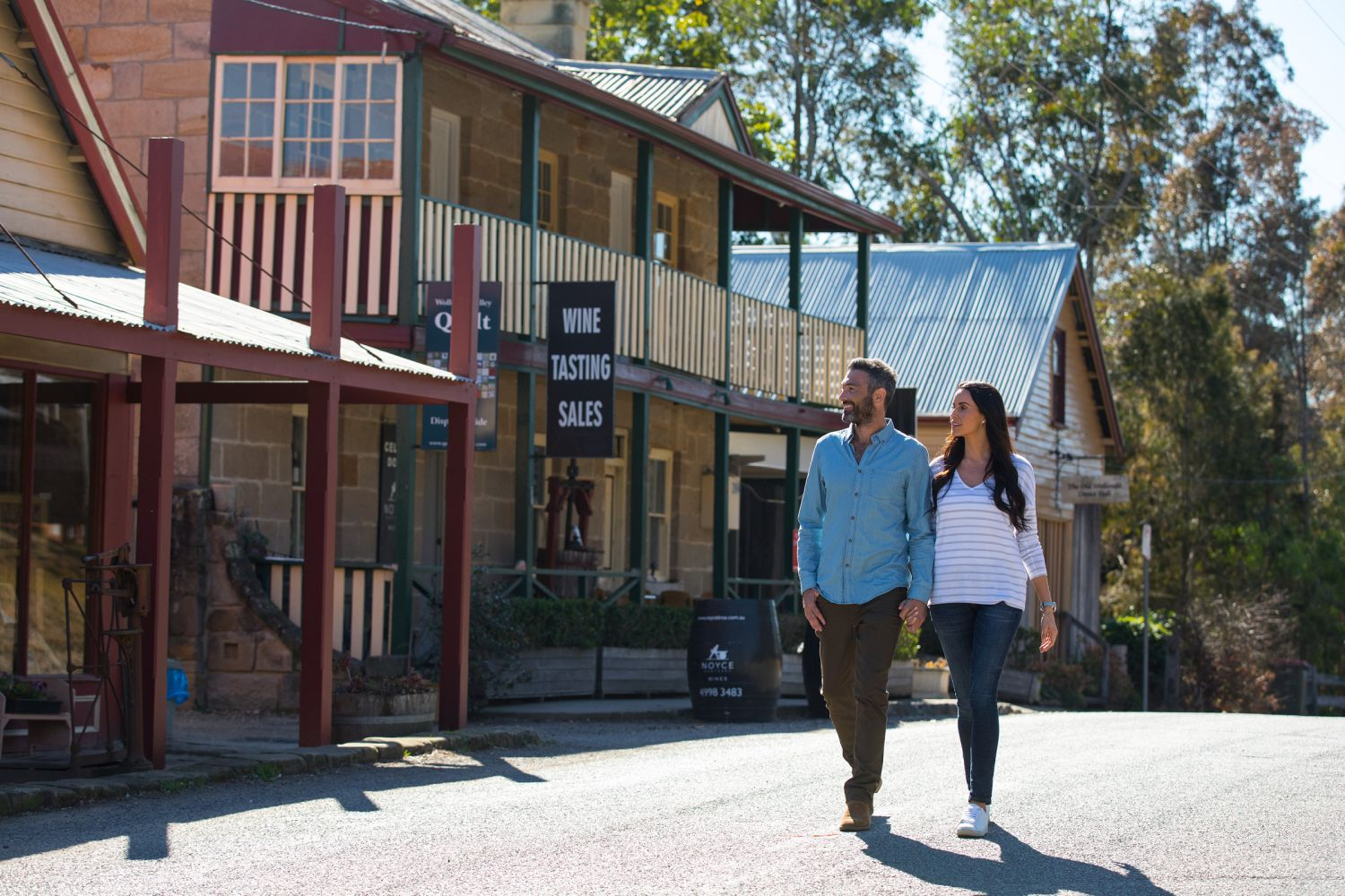 Couple exploring a town in the Hunter Valley