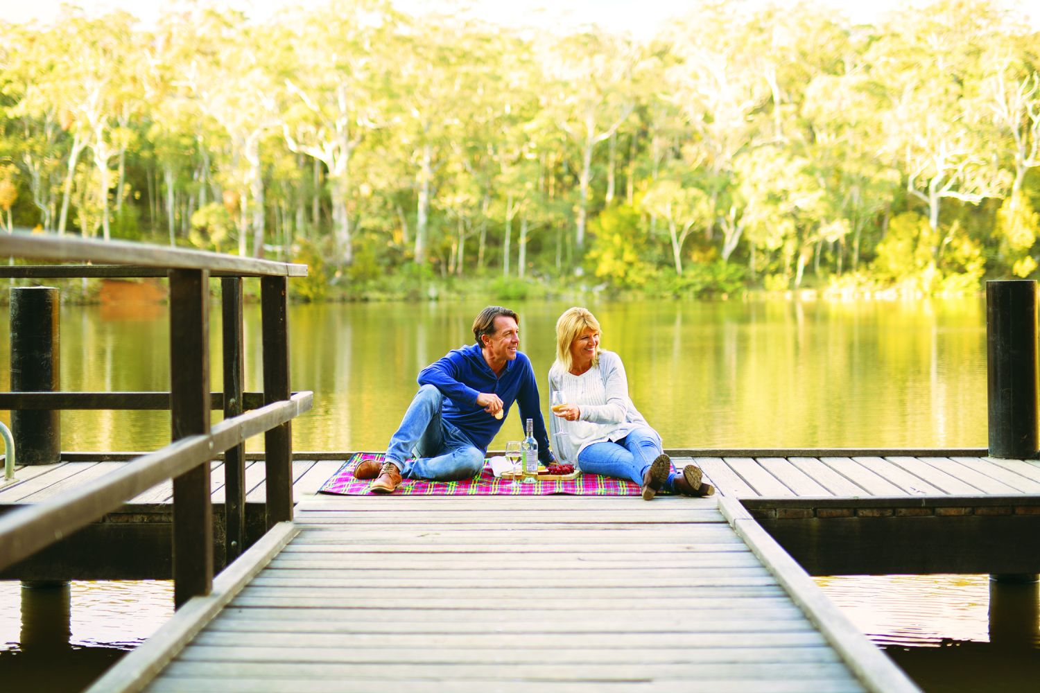 A couple picnicking at Sheba Dams, Hanging Rock, near Nundle