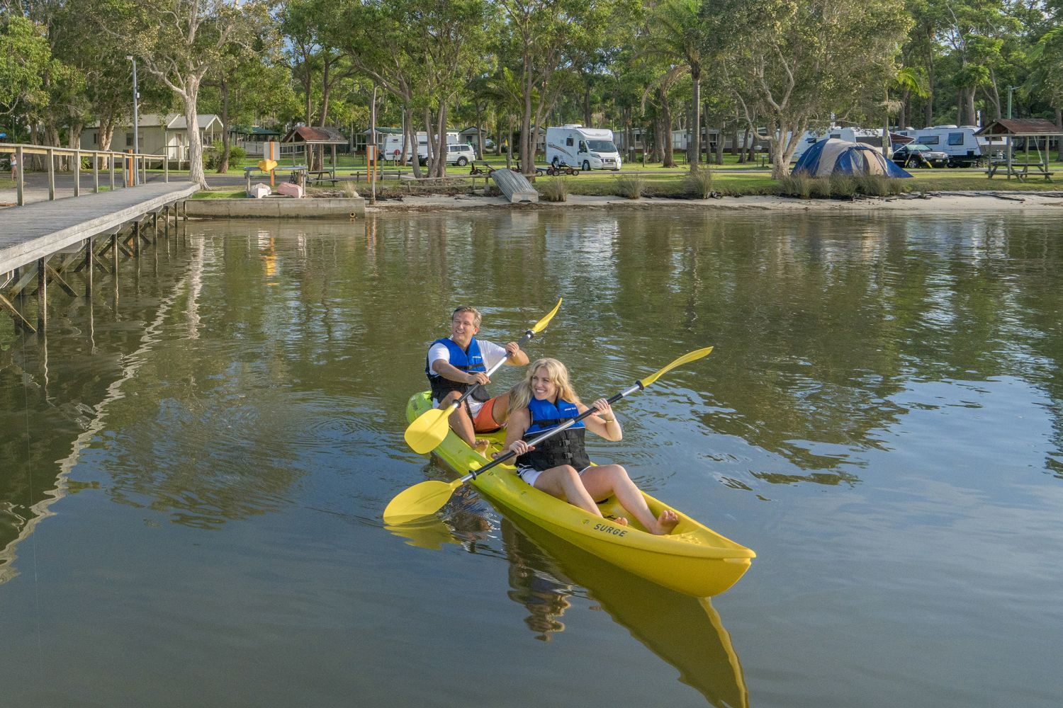 Tandem kayaking Tilligerry Creek, Koala Shores Holiday Park, Port Stephens