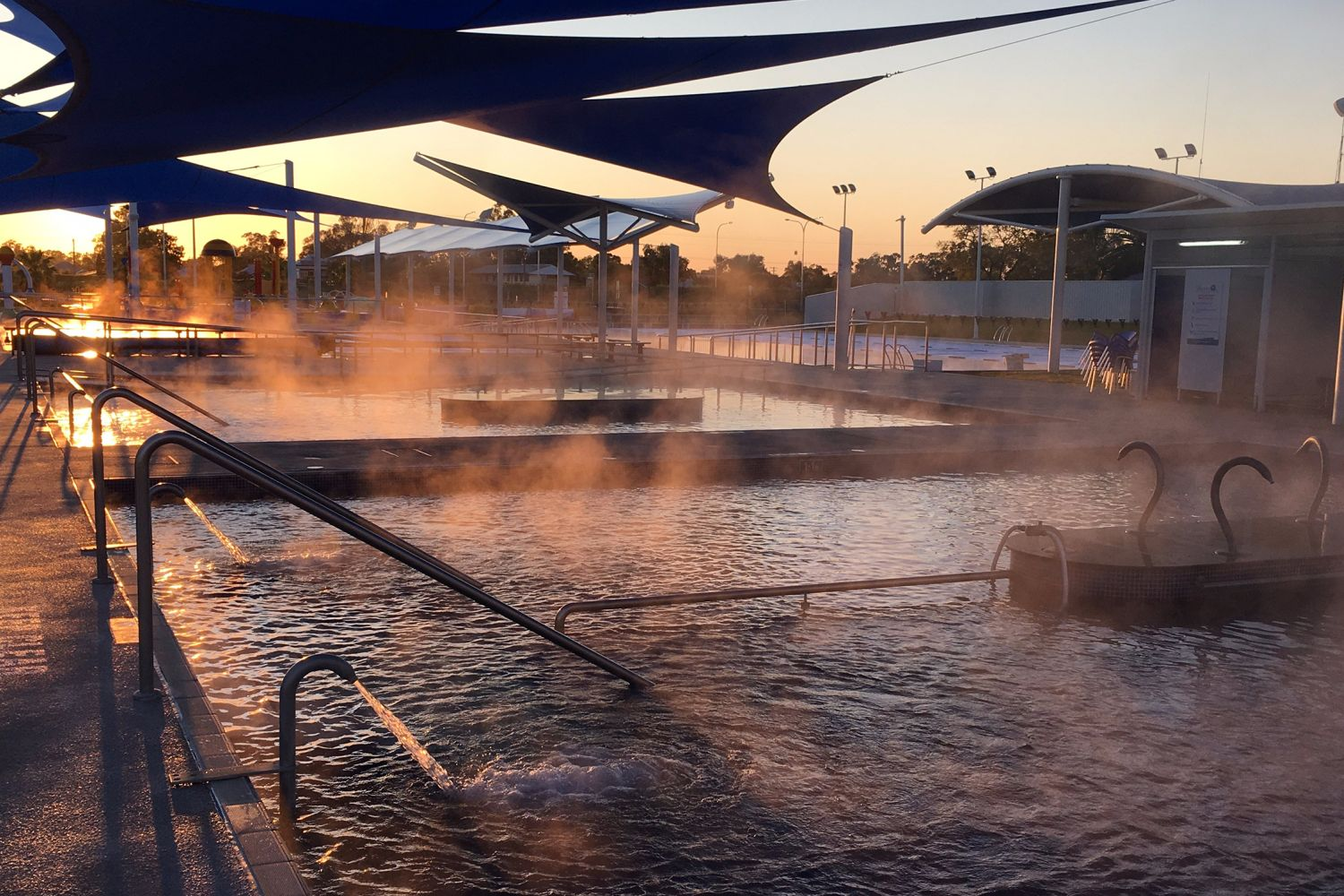 Dawn breaking at the Moree Artesian Aquatic Centre, northwest NSW