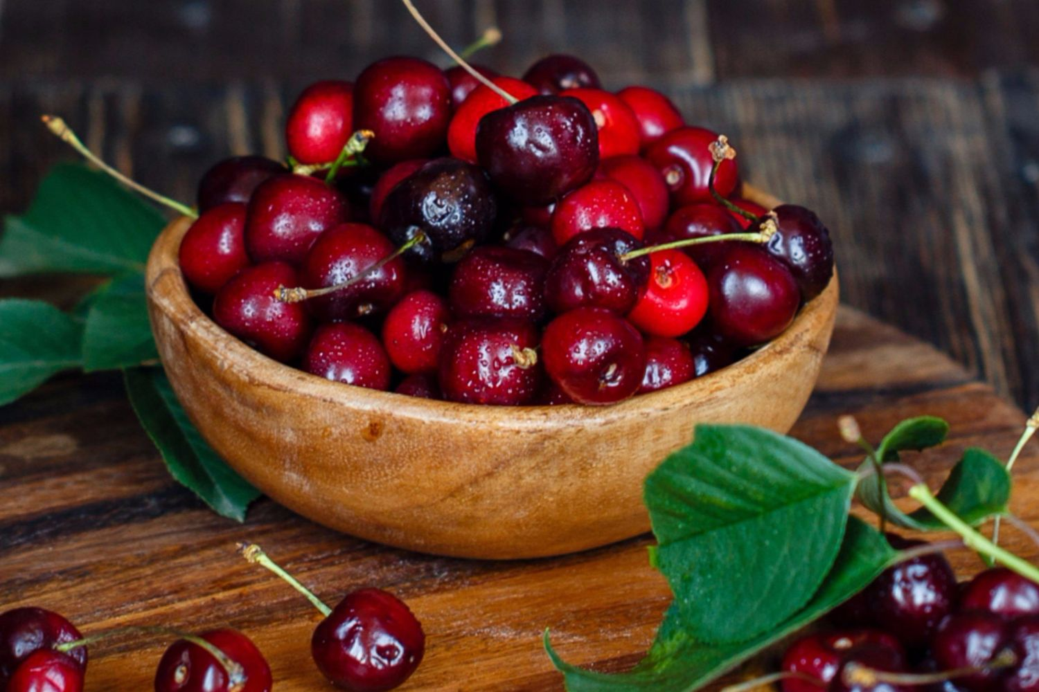A bowl of juicy cherries in Young, Australia