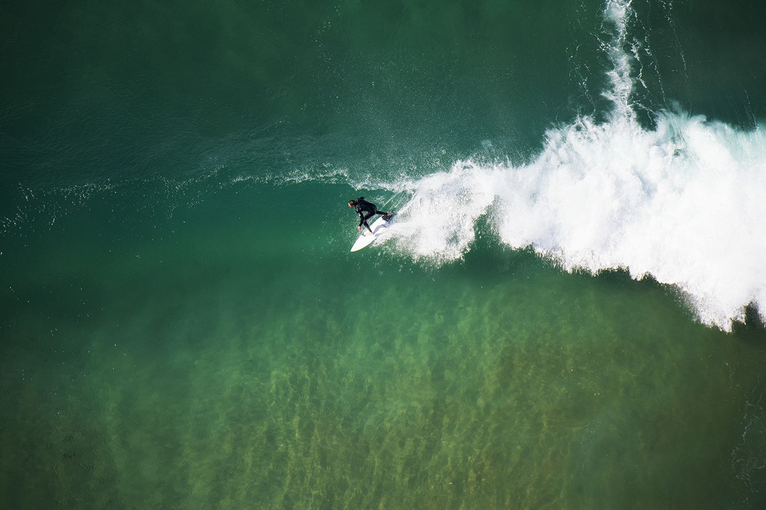 Aerial of a surfer catching a wave on North Avoca beach, Central Coast