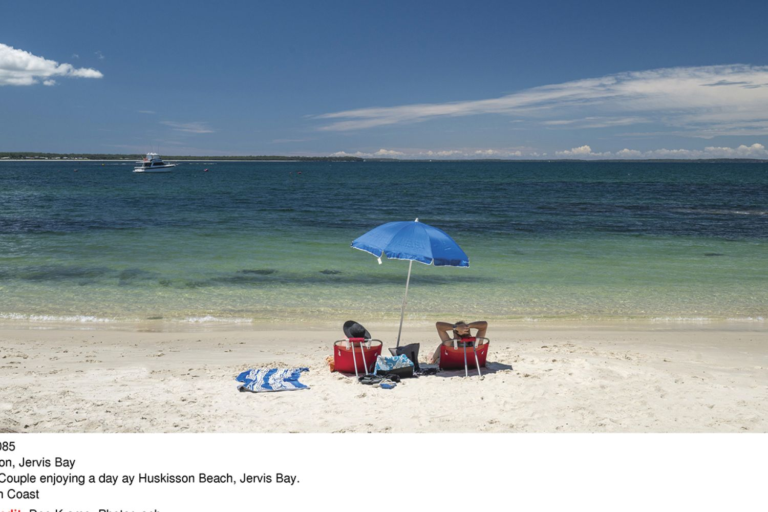 Couple enjoying a day ay Huskisson Beach, Jervis Bay in South Coast