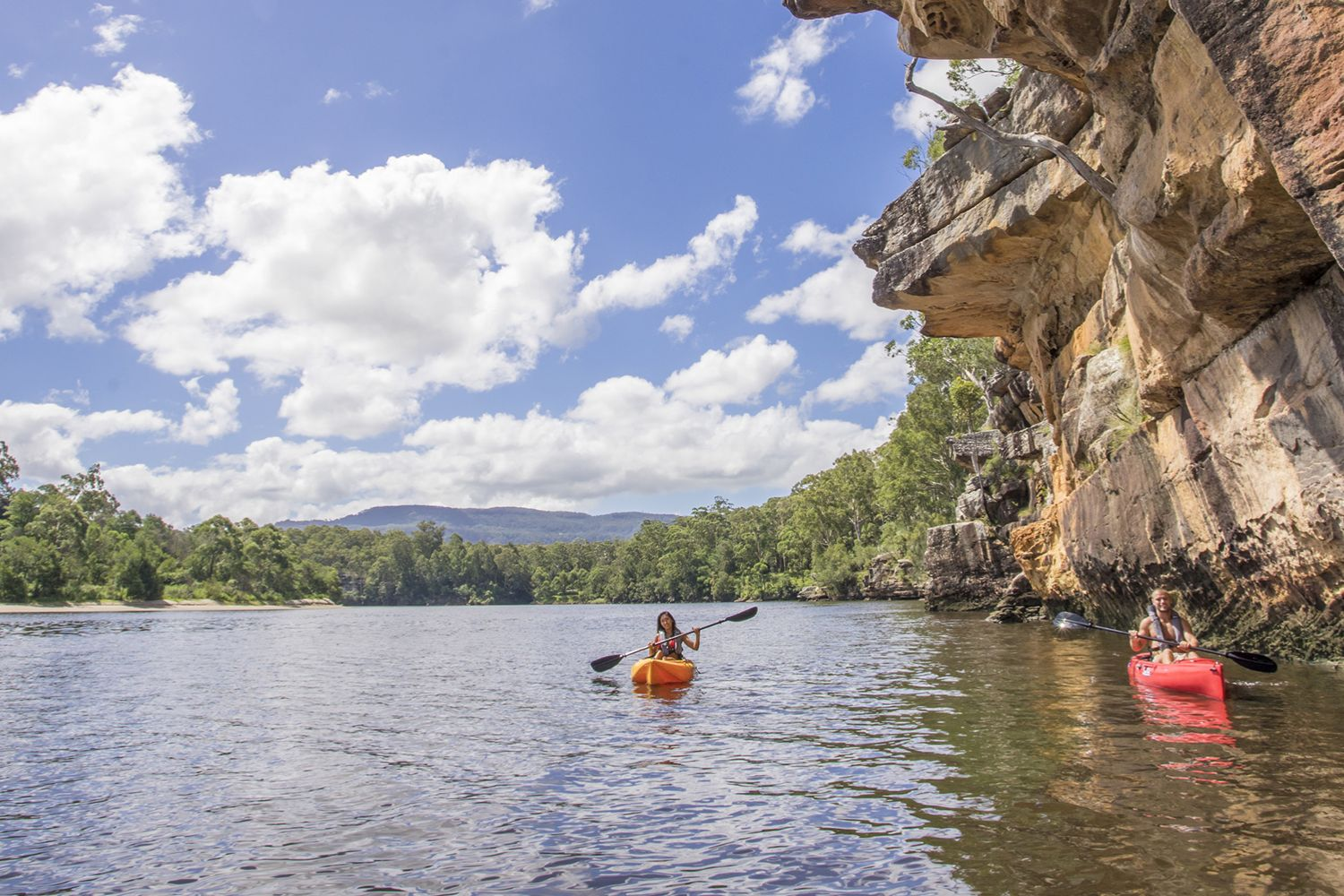 Couple enjoying a day of kayaking on the Shoalhaven River near Nowra