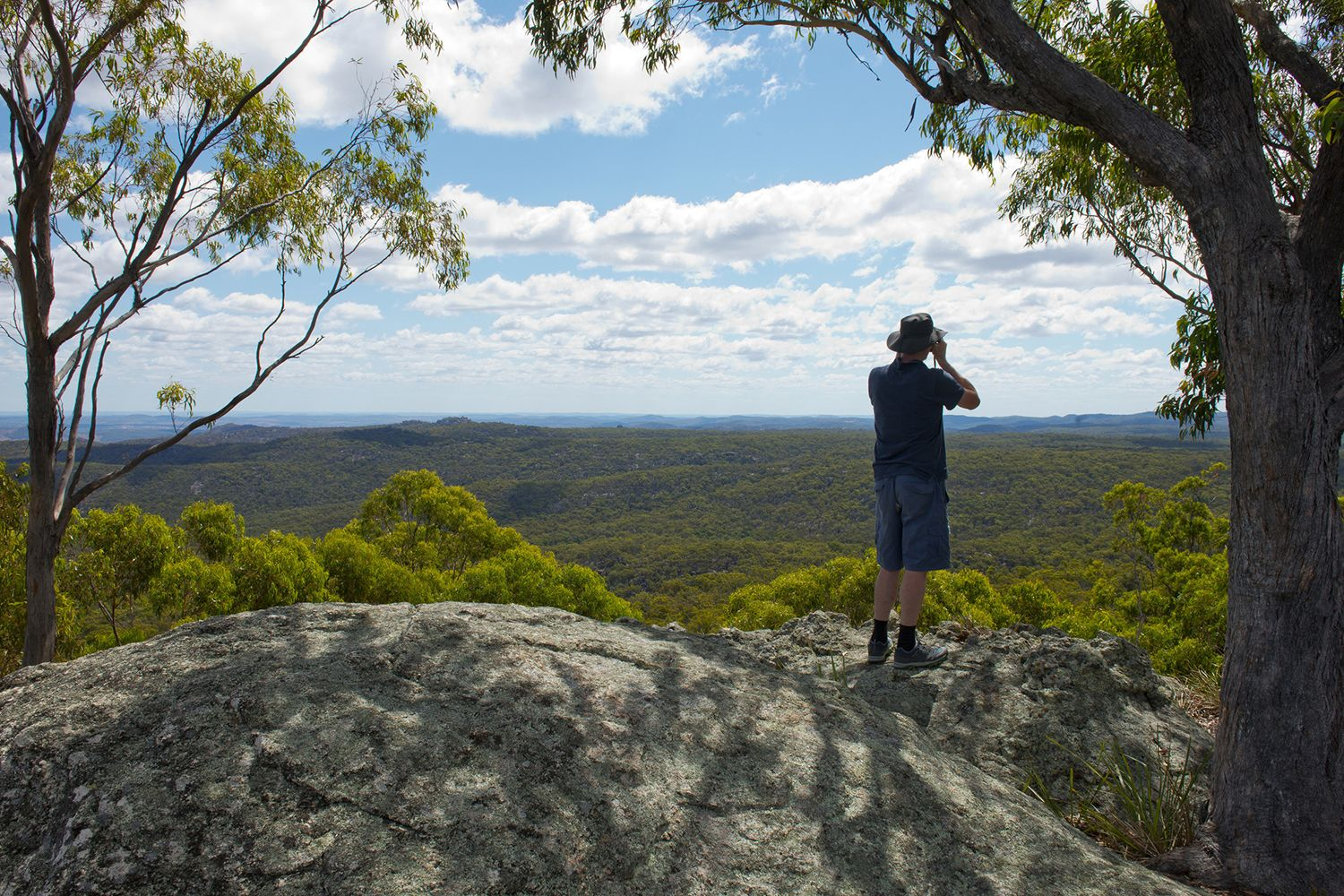 Man enjoying a walk to Thunderbolts Lookout in Barrington Tops National Park