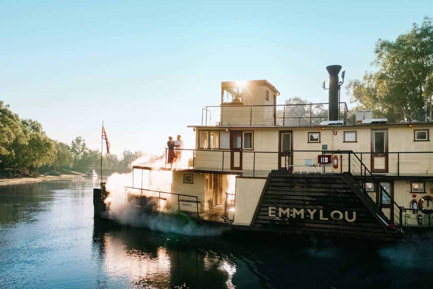 couple on a steamer boat in The Murray, NSW