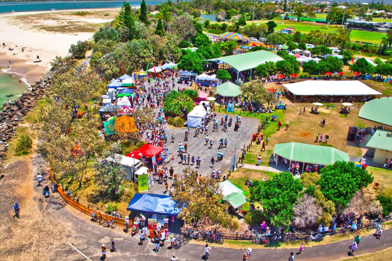 Aerial overlooking the Ballina Prawn Festival on North Coast, NSW
