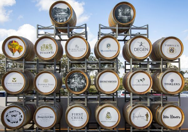 Barrels showcasing wineries in the Hunter Valley