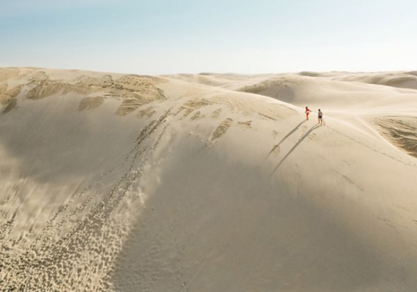 Aerial of Sand Boarding on Stockton Bight Sand Dunes