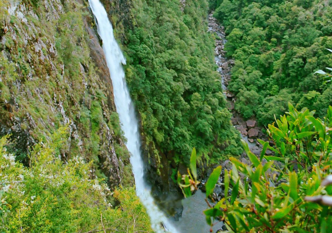 Water tumbles off Ellenborough Falls, on mid NSW North Coast