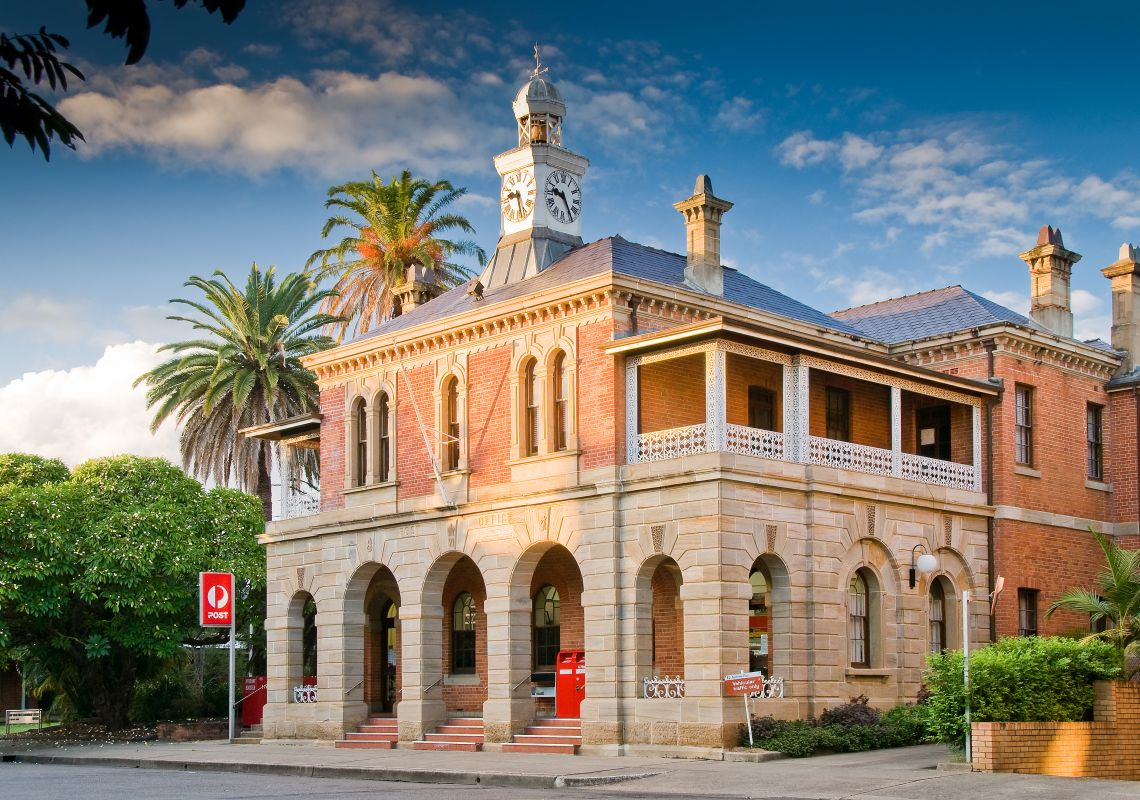 Street view of the two-storey heritage post office, Grafton