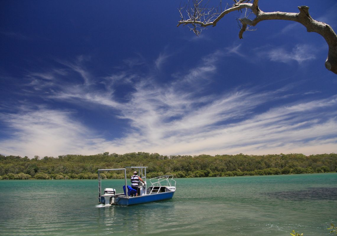 A runabout on the calm Nambucca River, Macksville