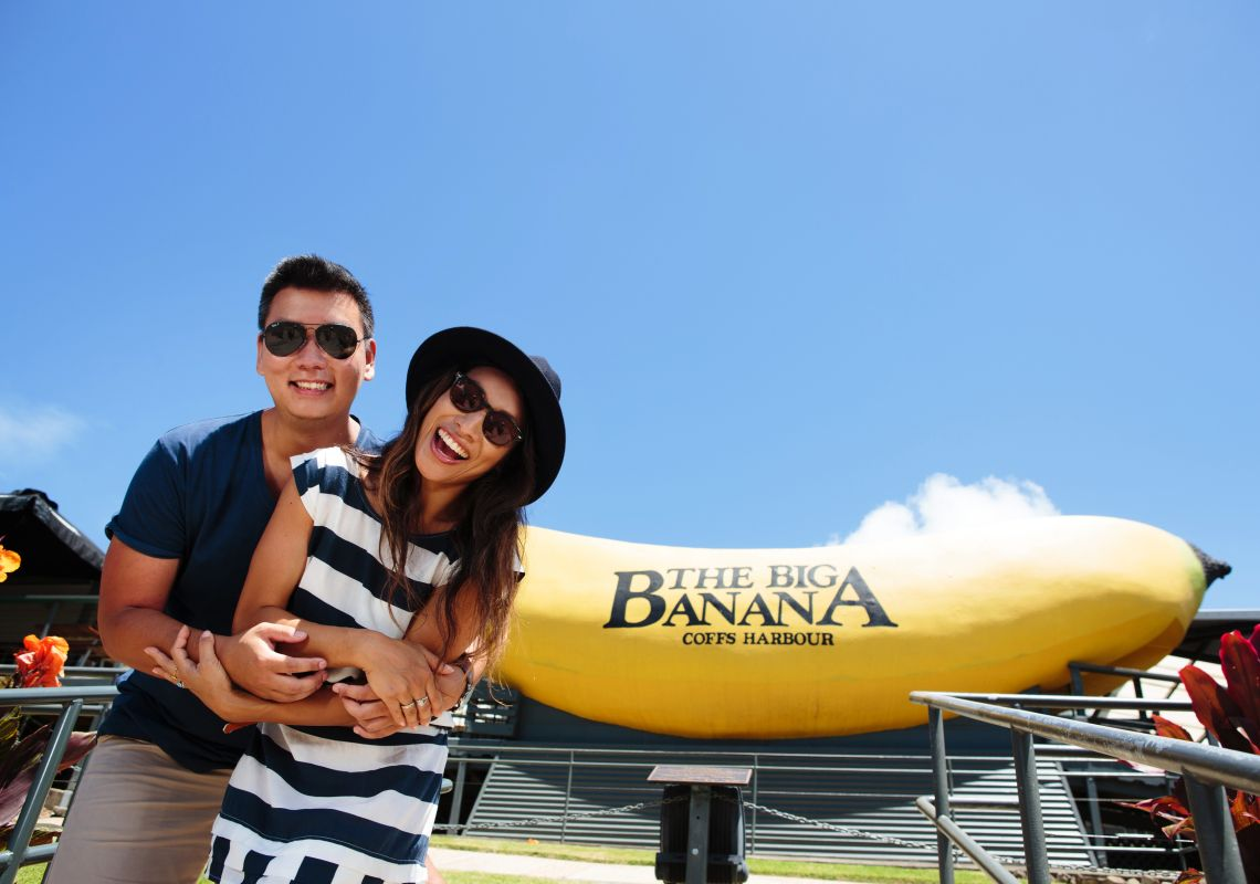 A couple enjoy a fun day out at The Big Banana in Coffs Harbour, Australia