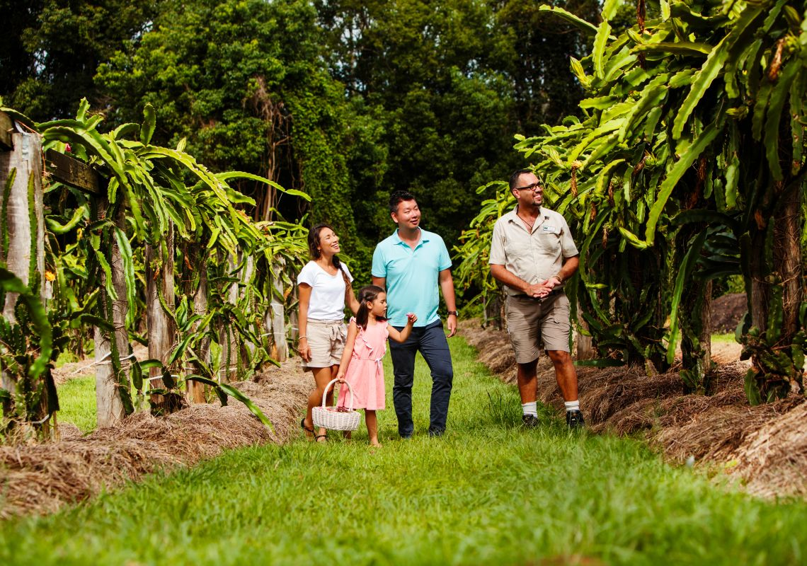 Family on a tour of Tropical Fruit World in Duranbah, Tweed Coast