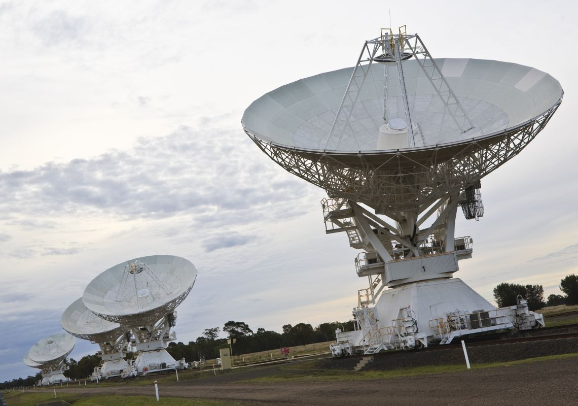 Dish antennas pointing skyward, CSIRO's Australia Telescope Compact Array, Narrabri