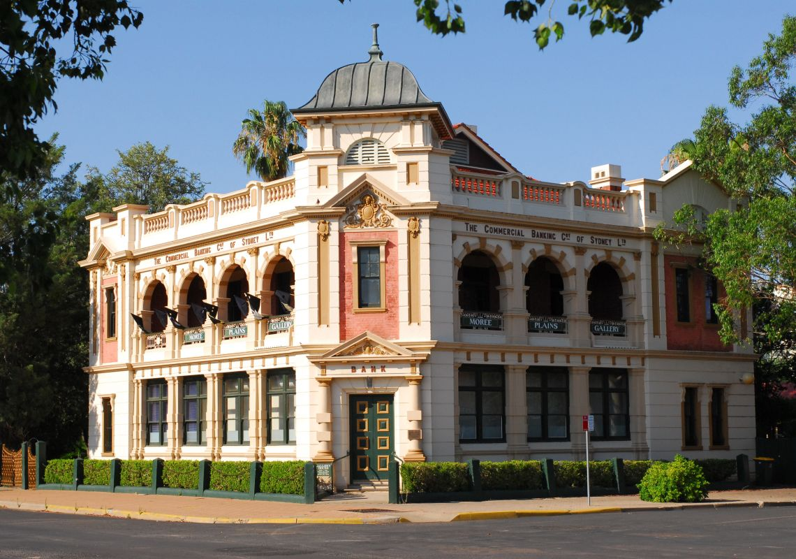 The Edwardian-style facade of BAMM, Bank Art Museum Moree