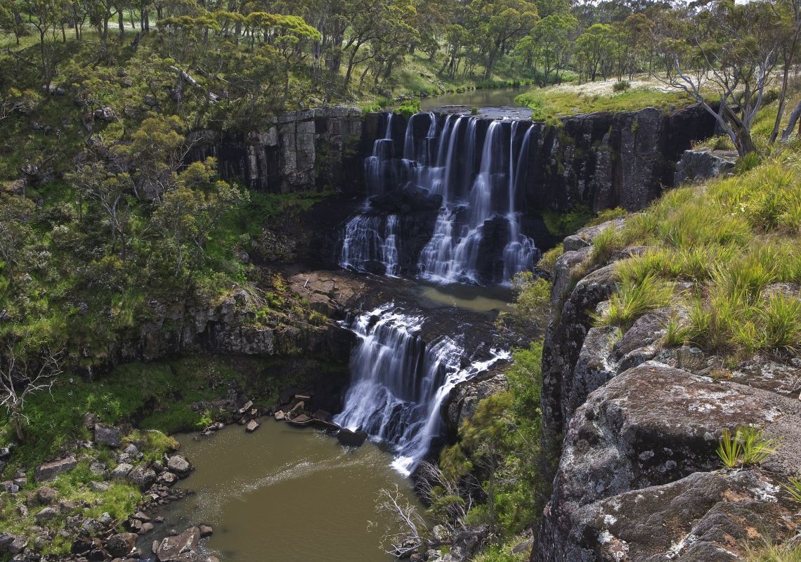 Two cascading waterfalls, Ebor Falls, Guy Fawkes Rivers National Park