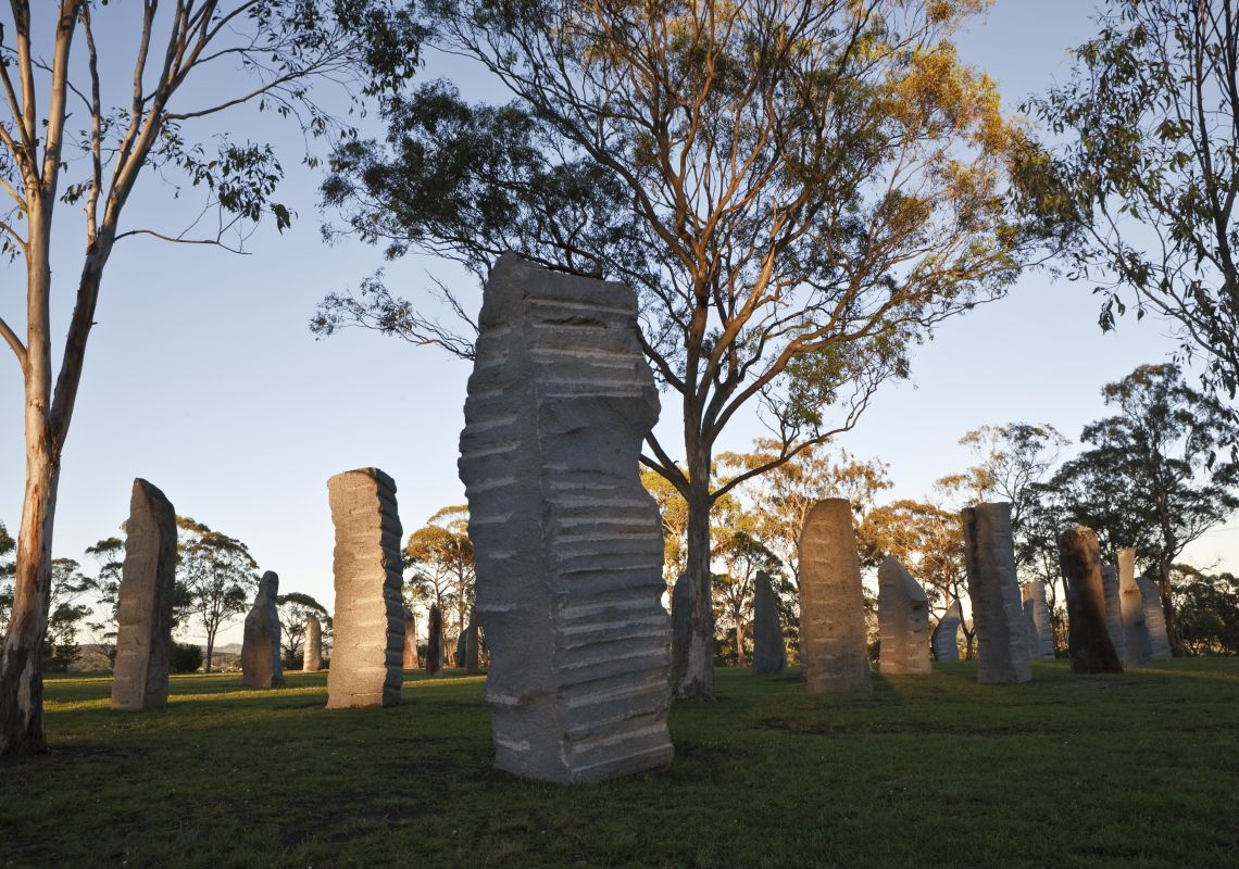 The Australian Standing Stones dotted among gum trees, Glen Innes