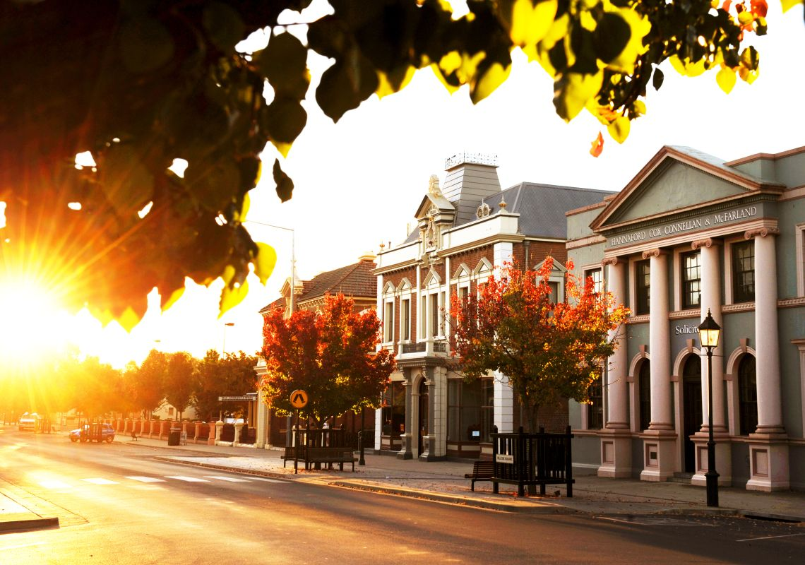 Mudgee streetscape at sun set