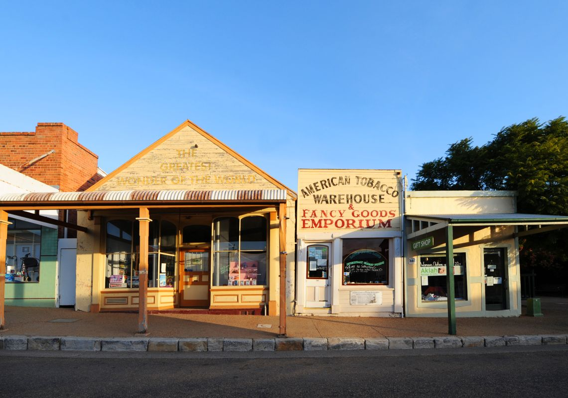 A heritage streetscape in Gulgong, Mudgee wine region