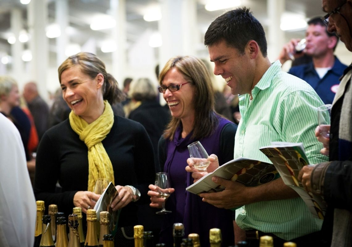 People tasting wines at the Cowra Wine Show, in Cowra, NSW