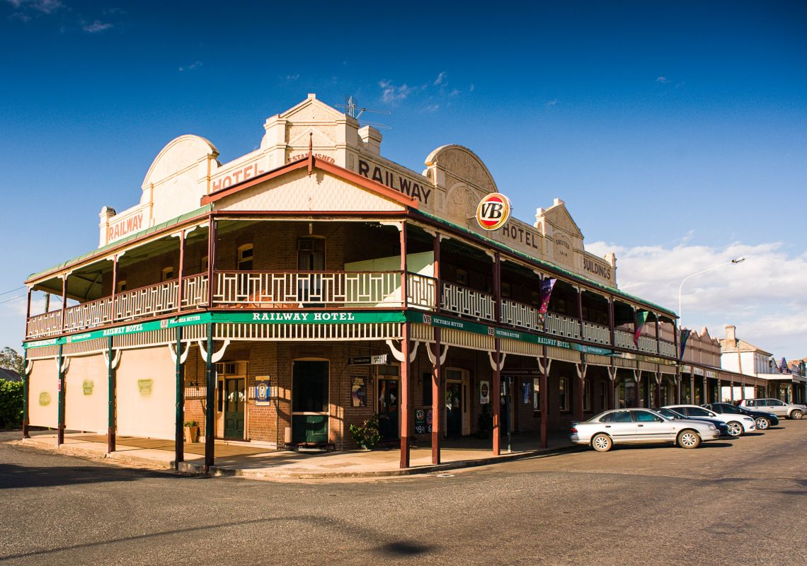 The Railway Hotel is two-storey pub in Grenfell, NSW