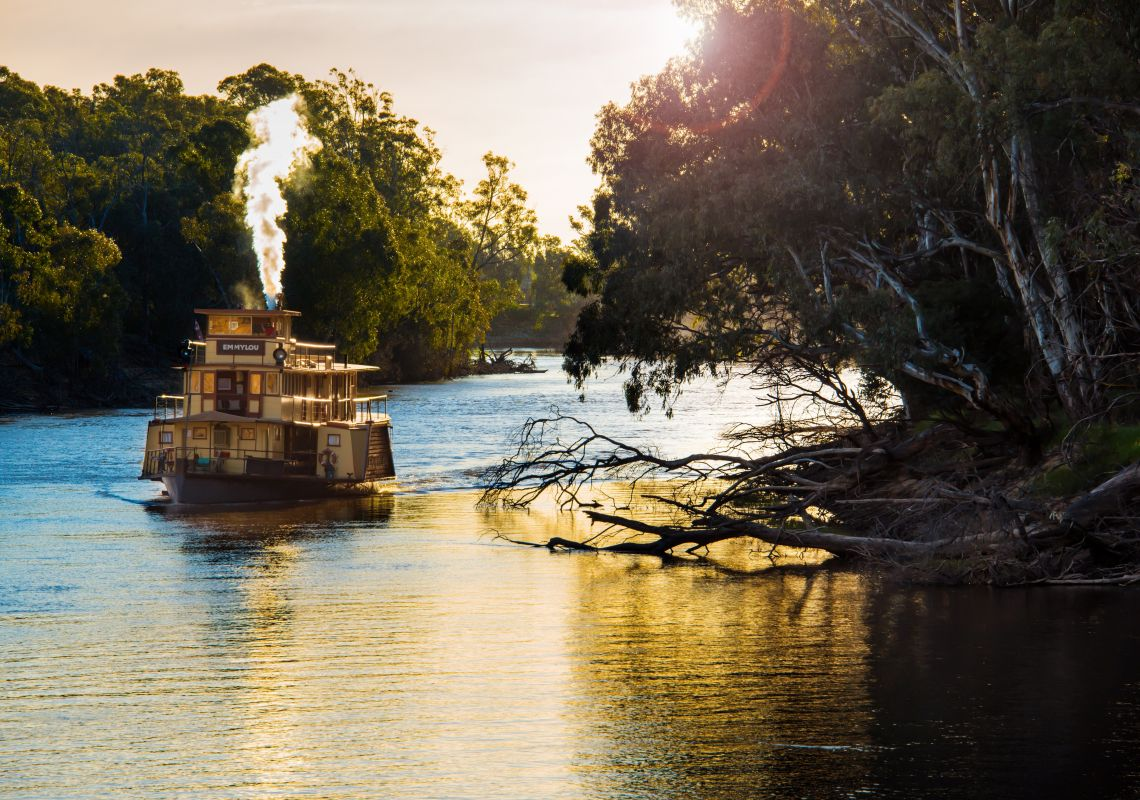 A paddle steamer on the Murray River, Echuca