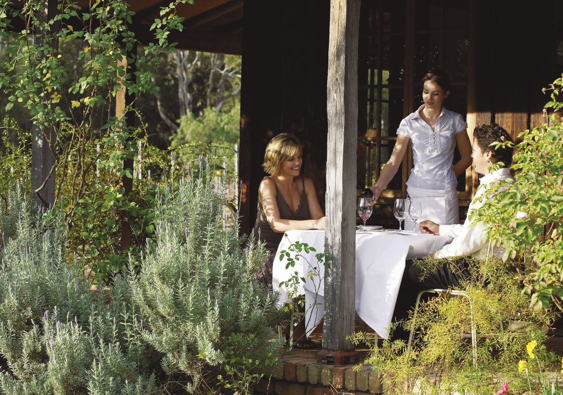 Verandah lunch at Circa 1876 Restaurant, Pokolbin, Hunter Valley, Australia