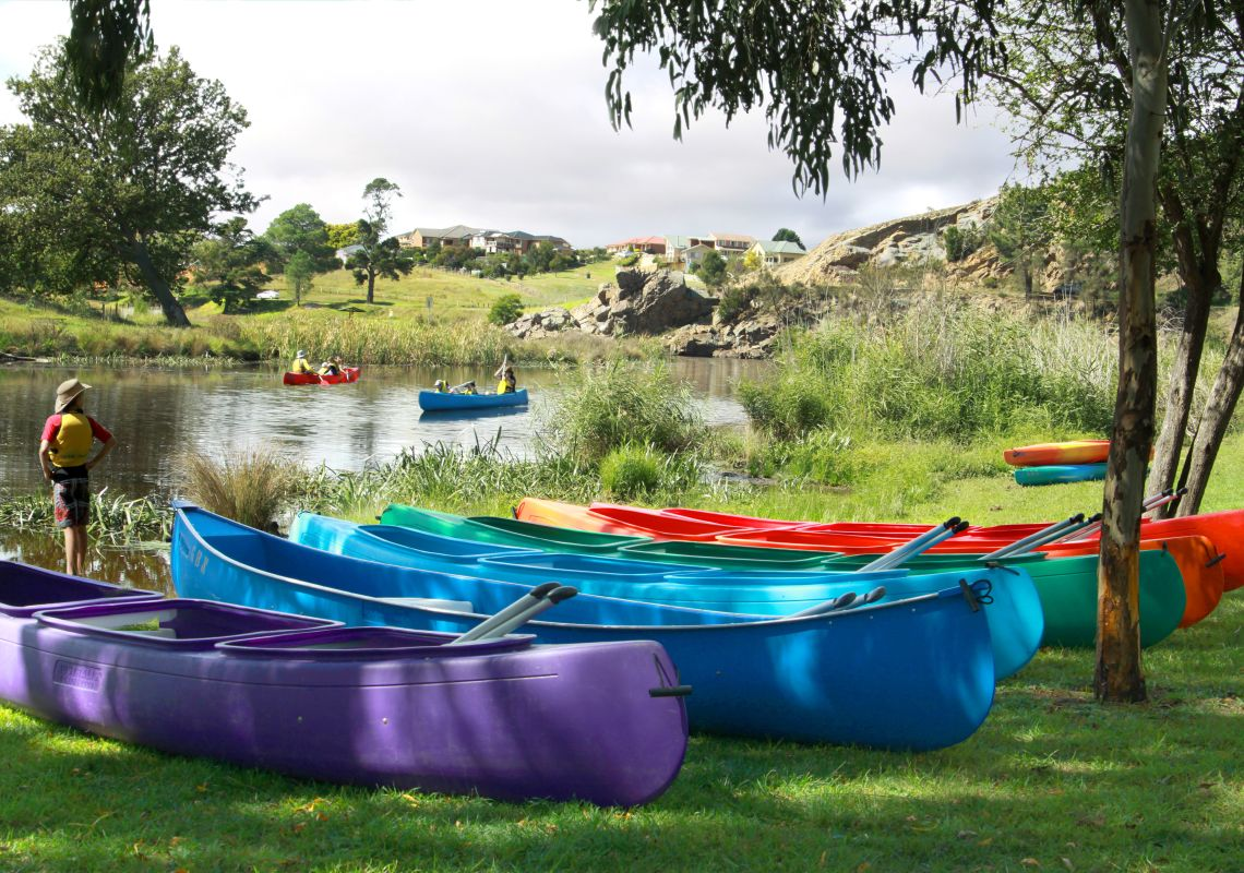 Canoeing at Marsden Weir in Goulburn, NSW Southern Tablelands