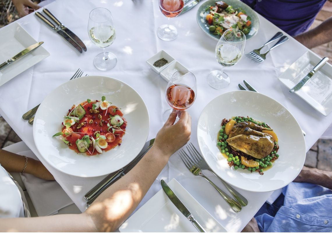 Food and wine at Bistro Molines, Mount View, Hunter Valley