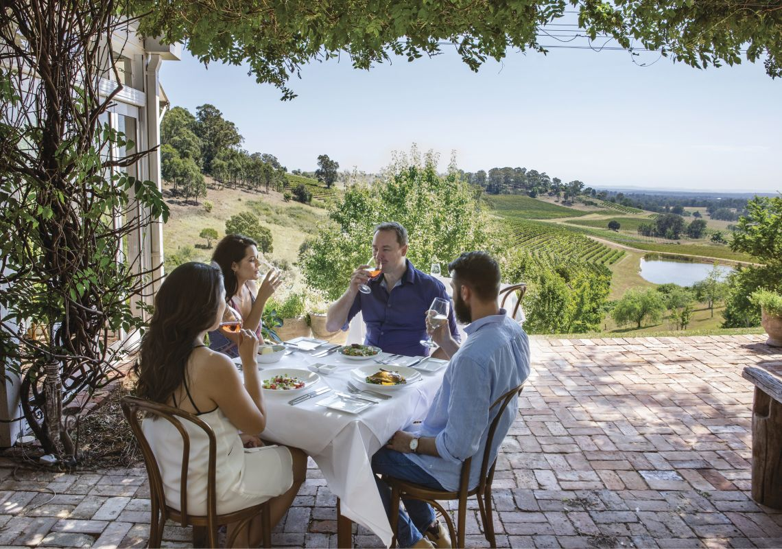 Lunch with scenic vineyard views at Bistro Molines, Hunter Valley