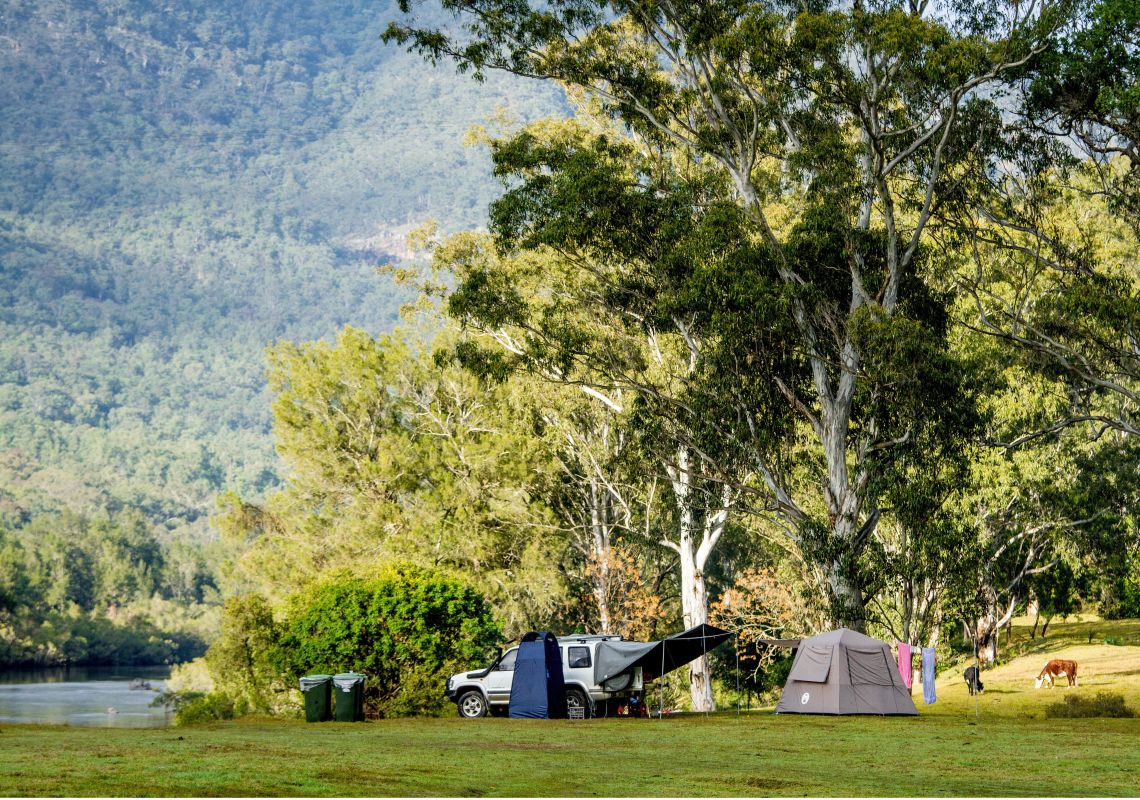 Camping by the river in Macleay Valley Coast hinterland