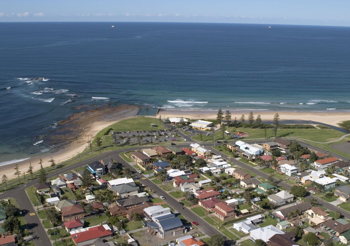 Aerial view of Bulli Beach, Bulli, in the Illawarra region