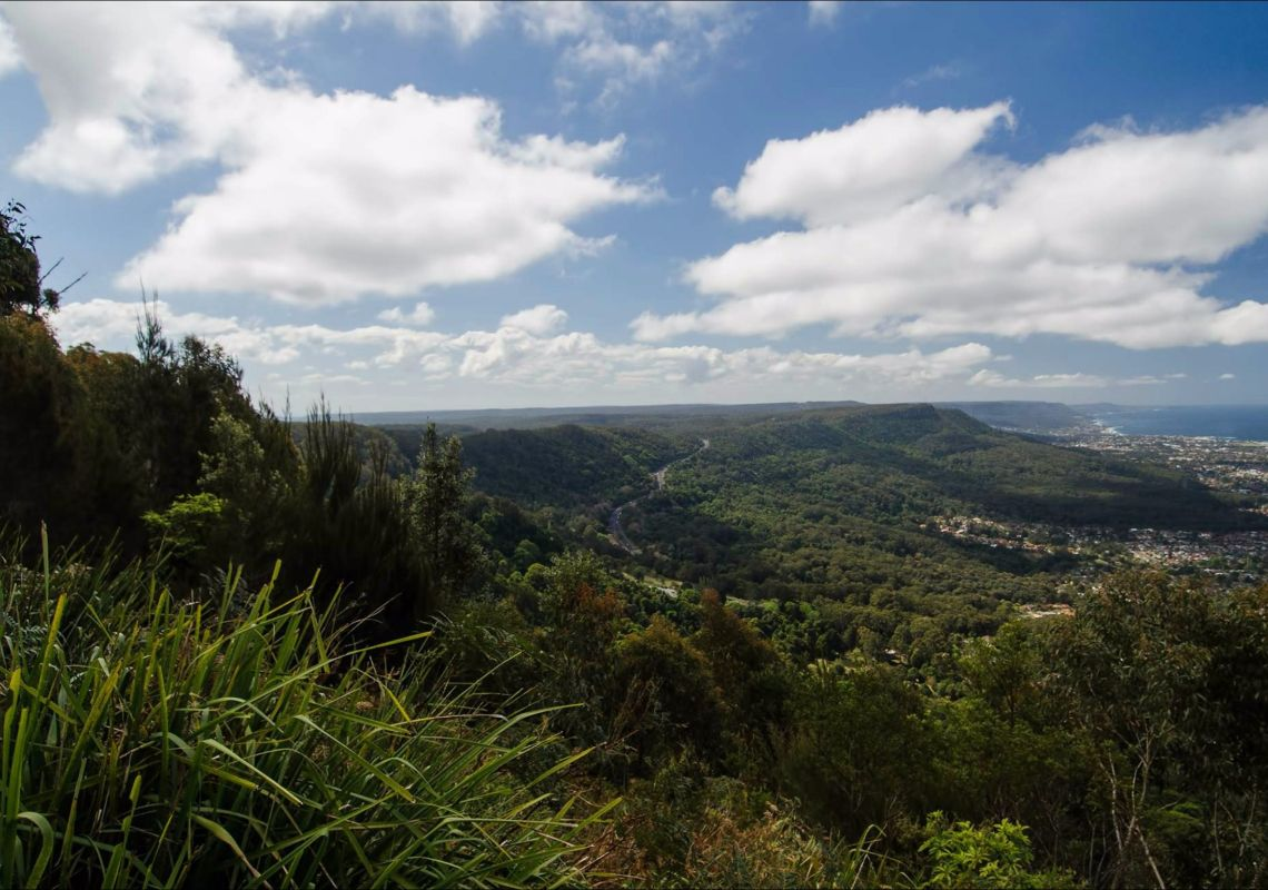 Scenic view of the lush Illawarra Escarpment, with ocean glimpses