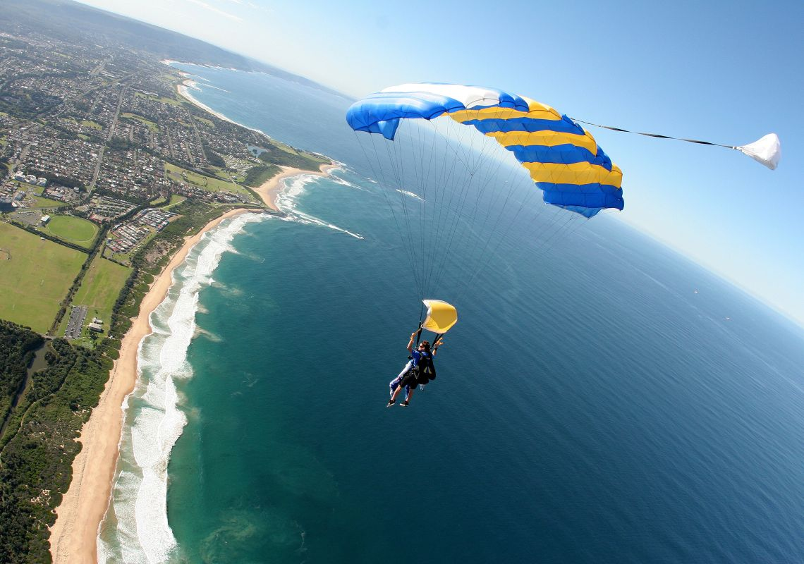 Tandem skydiving above Wollongong beaches, with Skydive Sydney - Wollongong