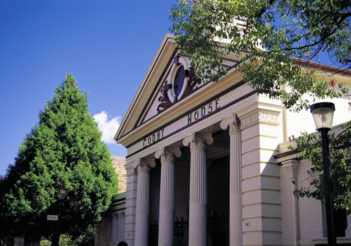 Fluted Corinthian columns of the Armidale Courthouse, built 1859-1860
