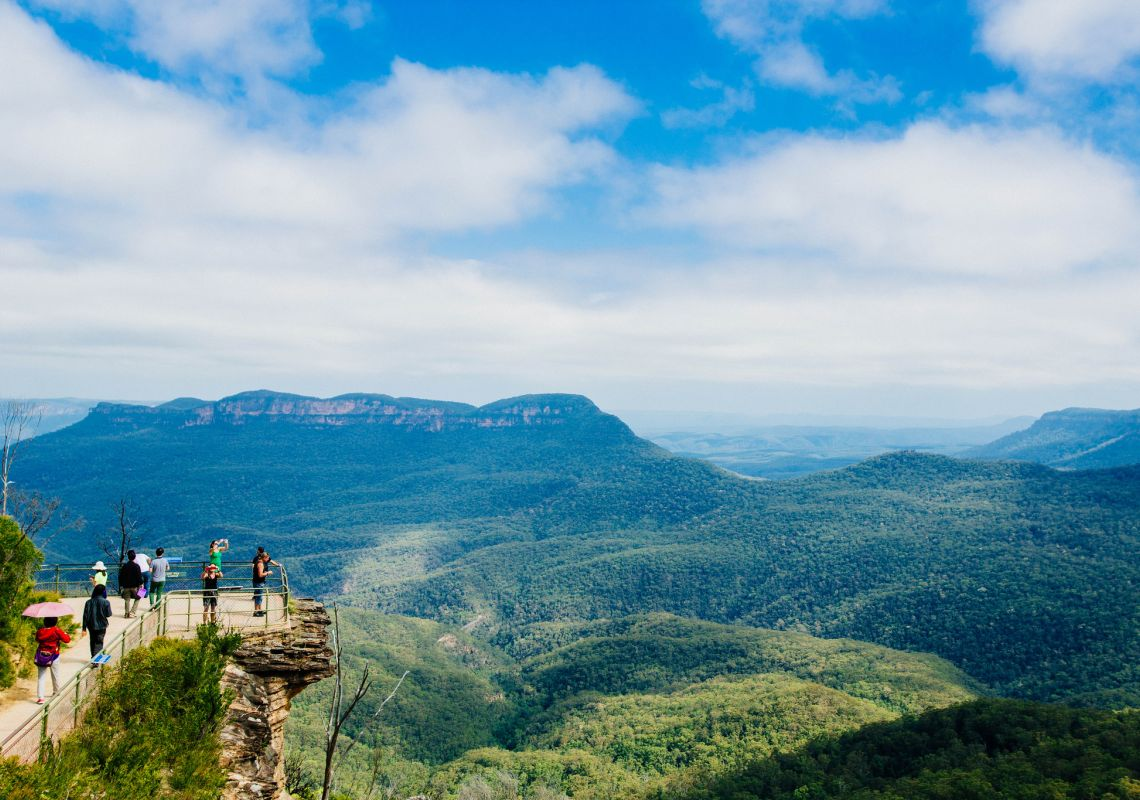 Walkers enjoy the scenery in the Blue Mountains