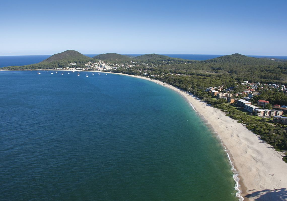 Shoal Bay Beach In Port Stephens With Views Towards Mount Tomaree