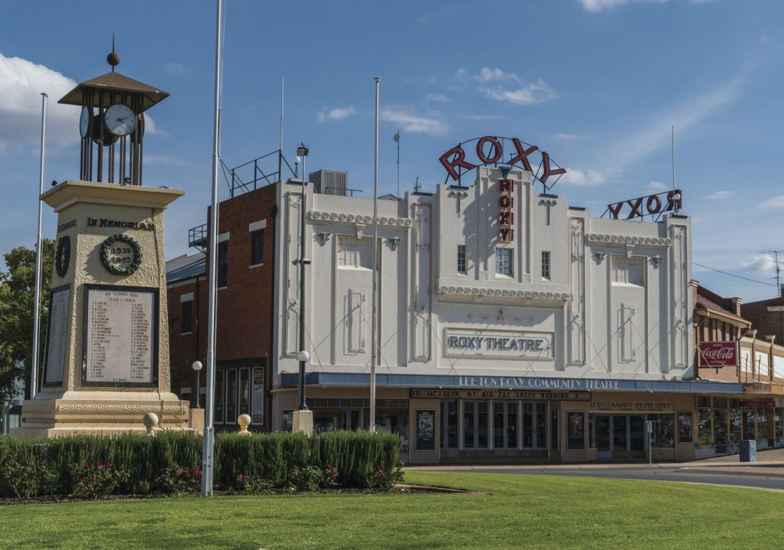The art deco facade of the Roxy Theatre, Leeton, NSW
