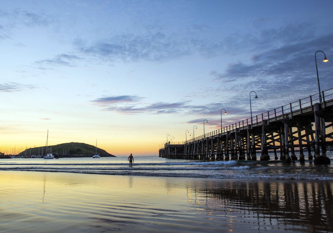 Sunrise at the heritage pier on Jetty Beach, Coffs Harbour
