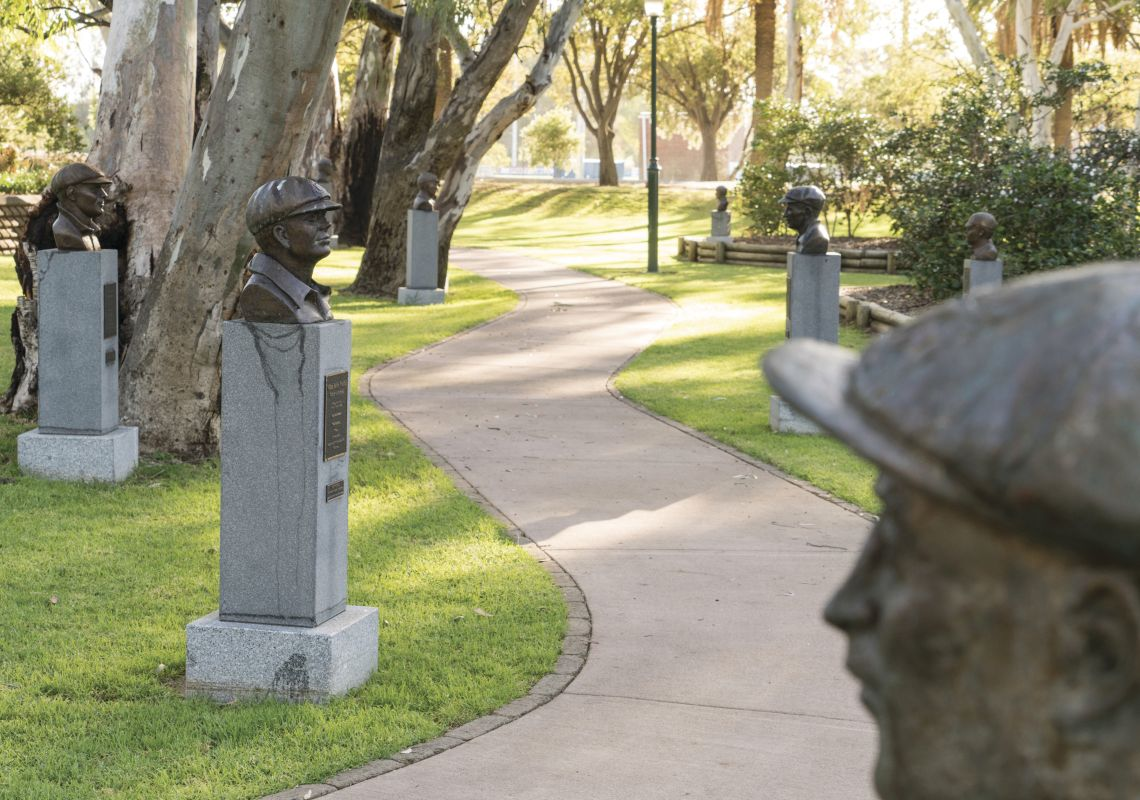 Bronze busts lining the Captains Walk in Cootamundra, Riverina, NSW