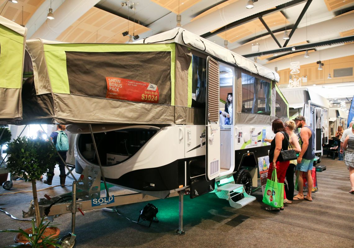 A new caravan at the NSW Caravan Camping Holiday Supershow, Sydney