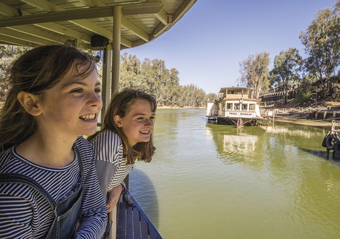 Enjoying a ride on a paddle steamer along the Murray River