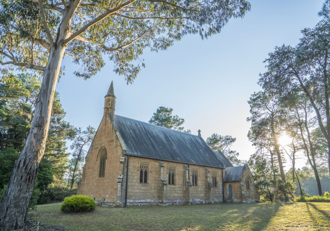 The beautiful sandstone Holy Trinity Anglican Church, Berrima, Southern Highlands