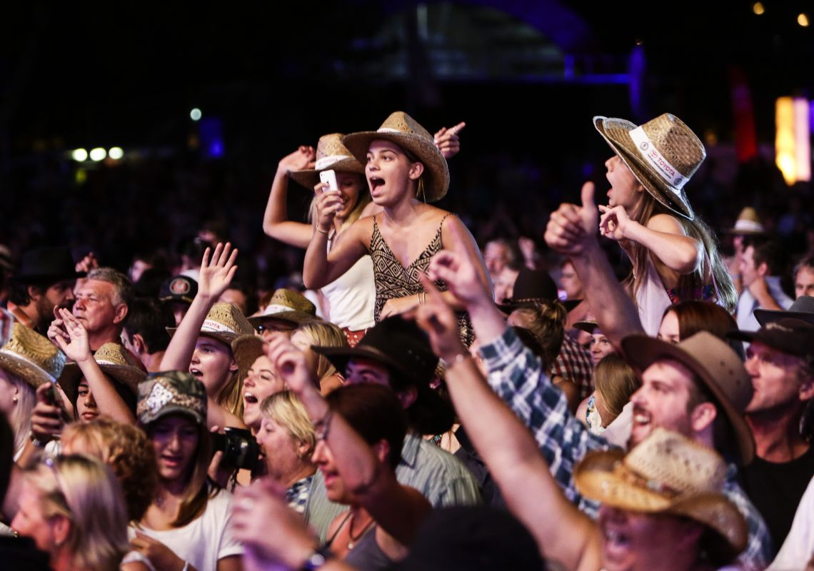 Fans enjoying the Tamworth Country Music Festival, Australia