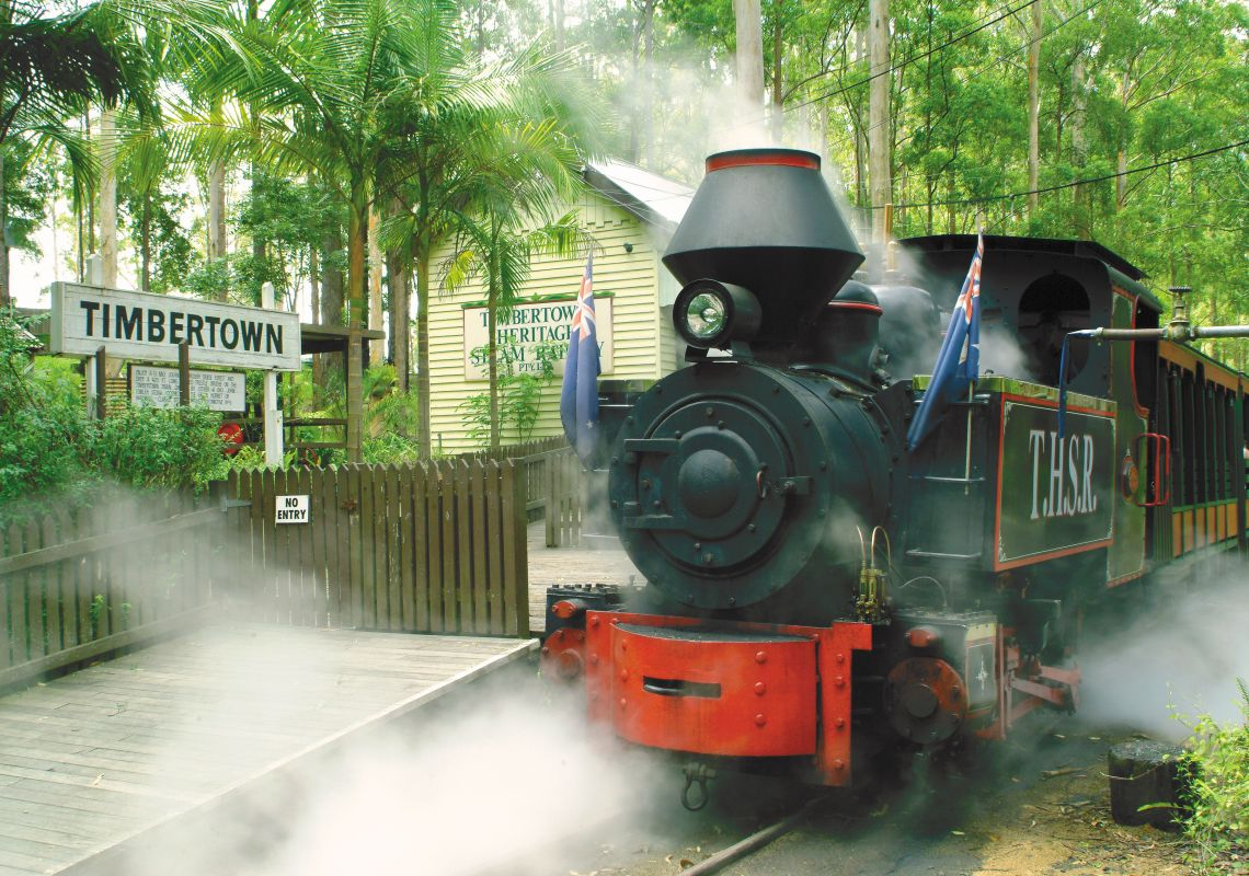 Steam train in Timbertown Heritage Theme Park, Wauchope