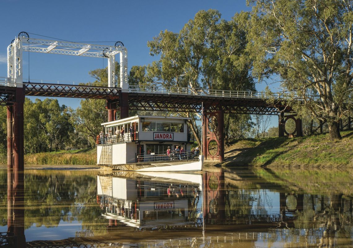 The Paddle Vessel (PV) Jandra cruising the Darling River in Bourke