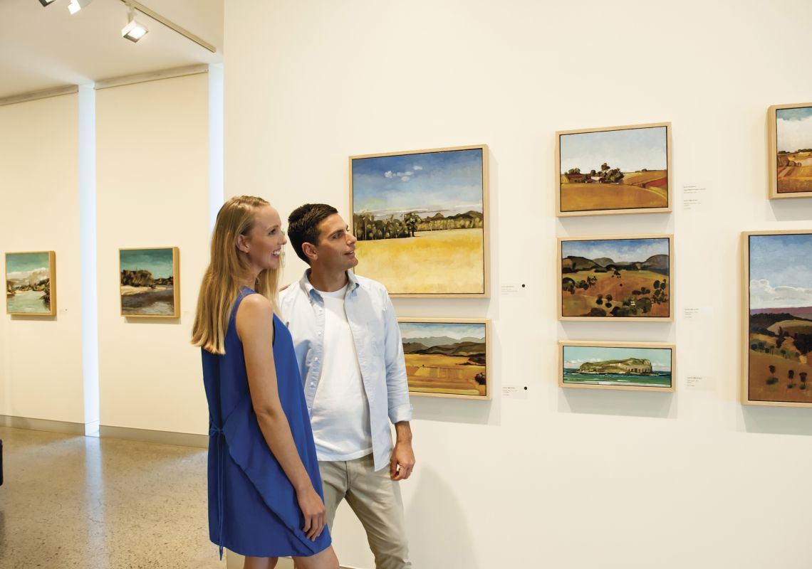 Couple enjoying a visit to the Tweed Regional Gallery in Murwillumbah South